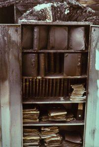 Brannskadd arkiv Lillesand Rådhus 1976