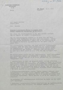 Brev til Aust-Agder-Arkivet fra Lillesand kommune 14.02.1977 s. 1