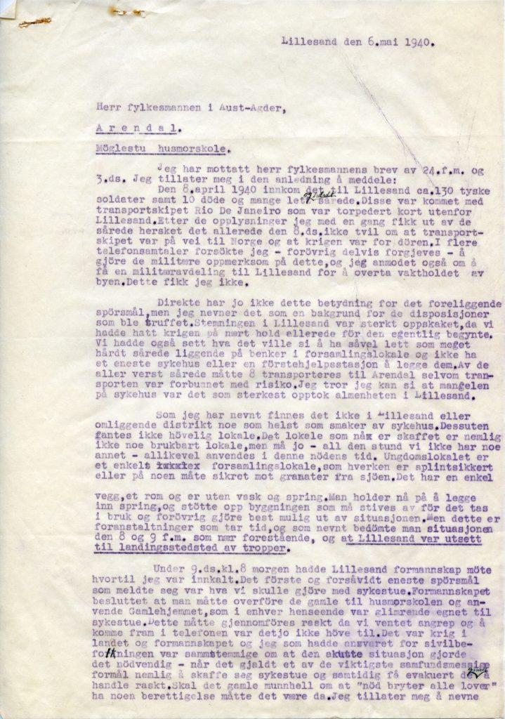 Notat til Fylkesmannen i Aust-Agder, datert 6. mai 1940 s. 1