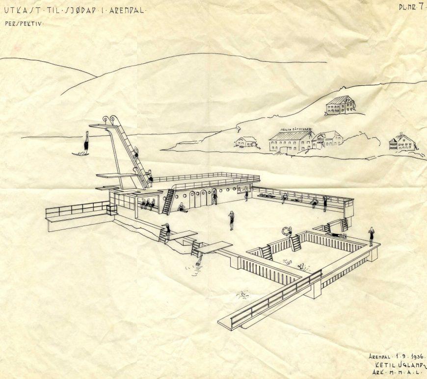Utkast til sjøbad i Arendal 1936 tegnet av Ketil Ugland