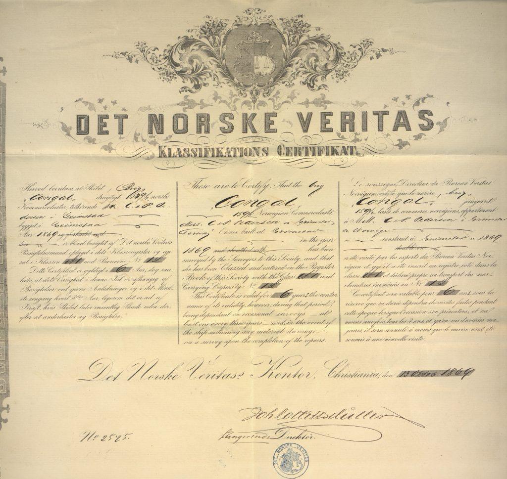 Klassifikations Certifikat - Congal 1869