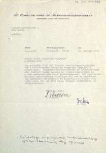 Brev fra Det kongelige kirke- og undervisningsdepartementet 16.02.1968 til Fylkeskonservator Ulf Hamran vedrørende søk etter skipsvraket av Najaden