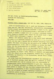 Brev fra Fylkeskonservator Ulf Hamran til Det kongelige kirke- og undervisningsdepartementet 16.04.1968 vedrørende søk etter skipsvraket av Najaden