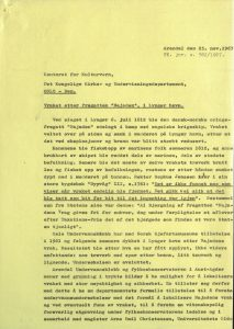 Brev fra Fylkeskonservator Ulf Hamran til Det kongelige kirke- og undervisningsdepartementet 25.11.1967 vedrørende søk etter skipsvraket av Najaden