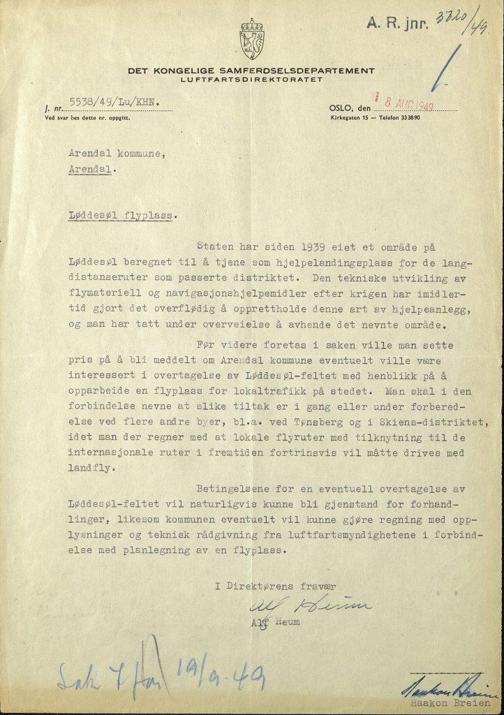 Brev fra Samferdselsdepartementet til Arendal kommune 18.08.1949