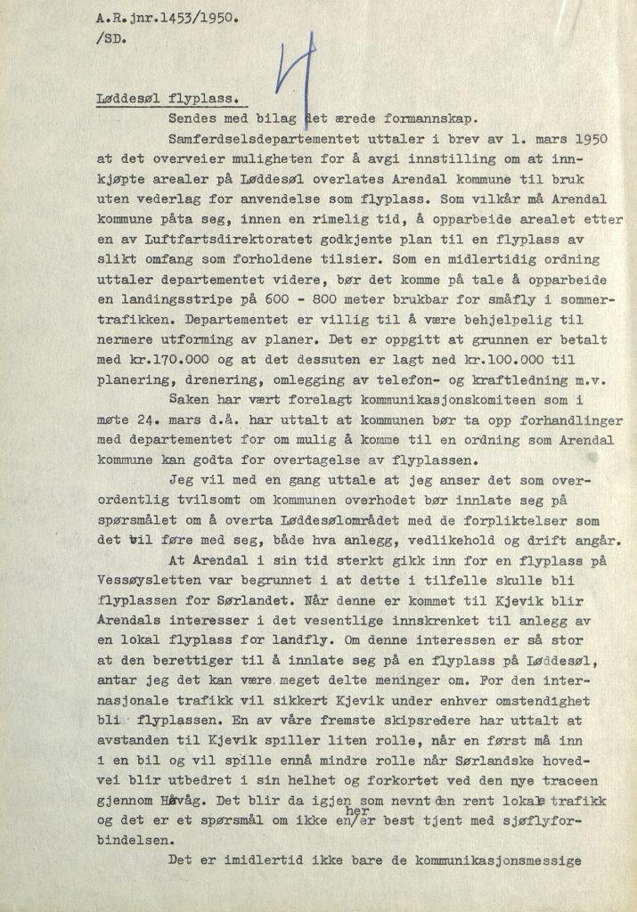 Brev til Arendal formannskap fra rådmannen 15.04.1950 s. 1