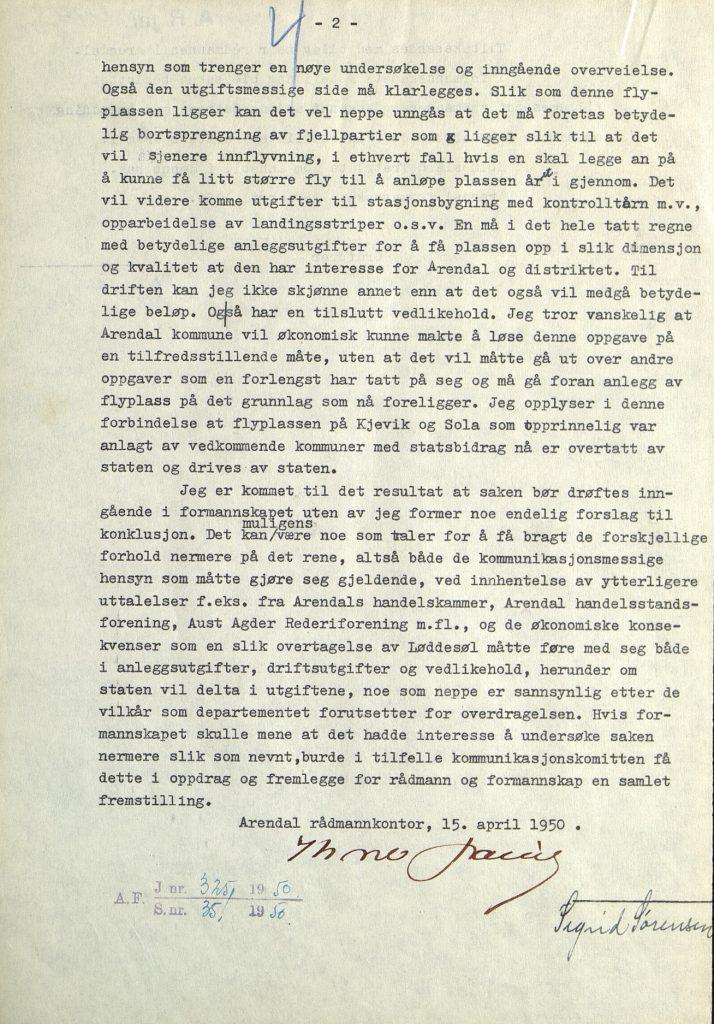 Brev til Arendal formannskap fra rådmannen 15.04.1950 s. 2