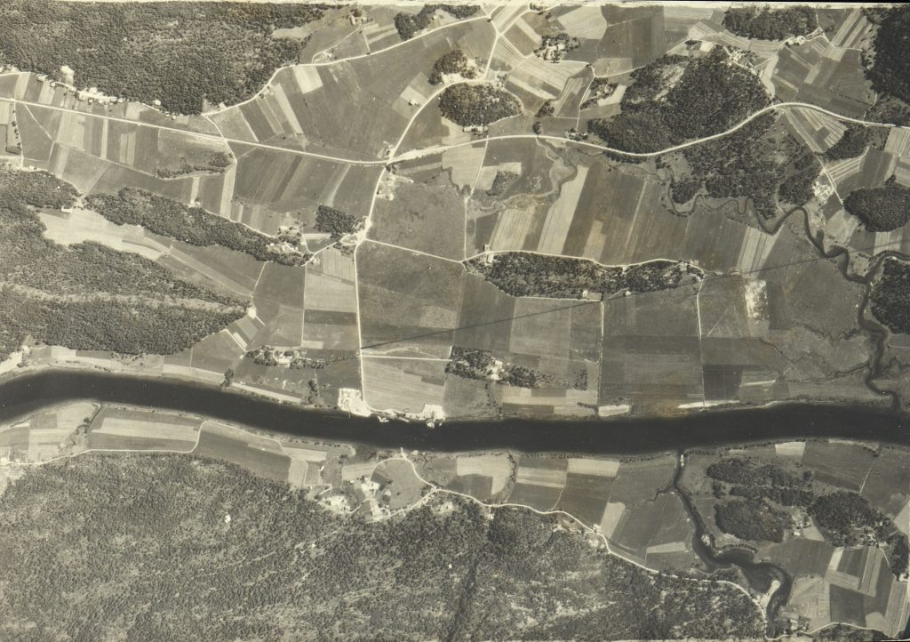 Flyfoto over Løddesøl rundt 1950