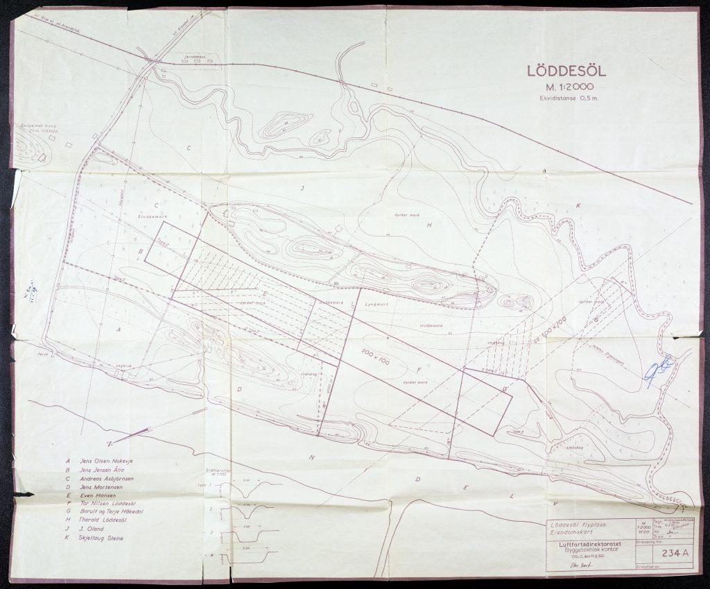 Skisse over Løddesøl flyplass 11.02.1950