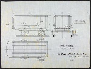 Skisse av malmvogn Evje Nikkelverk 1910