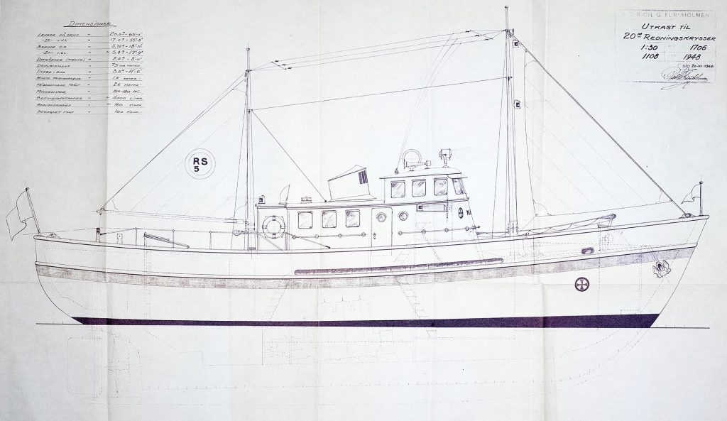 Utkast til 20 m Redningskrysser. Furuholmen 1948