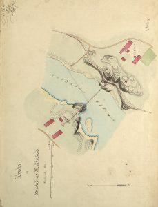Kroki af Brosted ved Mollestad tegnet av ingeniør L. Grung i 1869