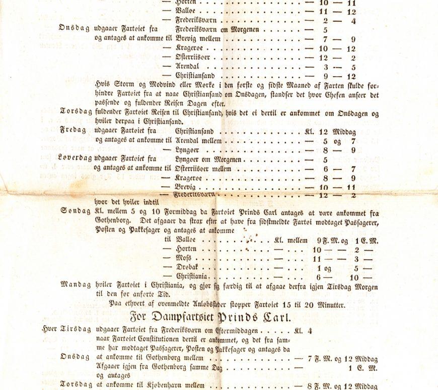 Bekjentgjørelse om rutetrafikk 7. april 1831 s. 1