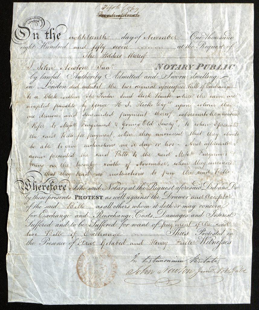 Notary Public 18. november 1857 forside
