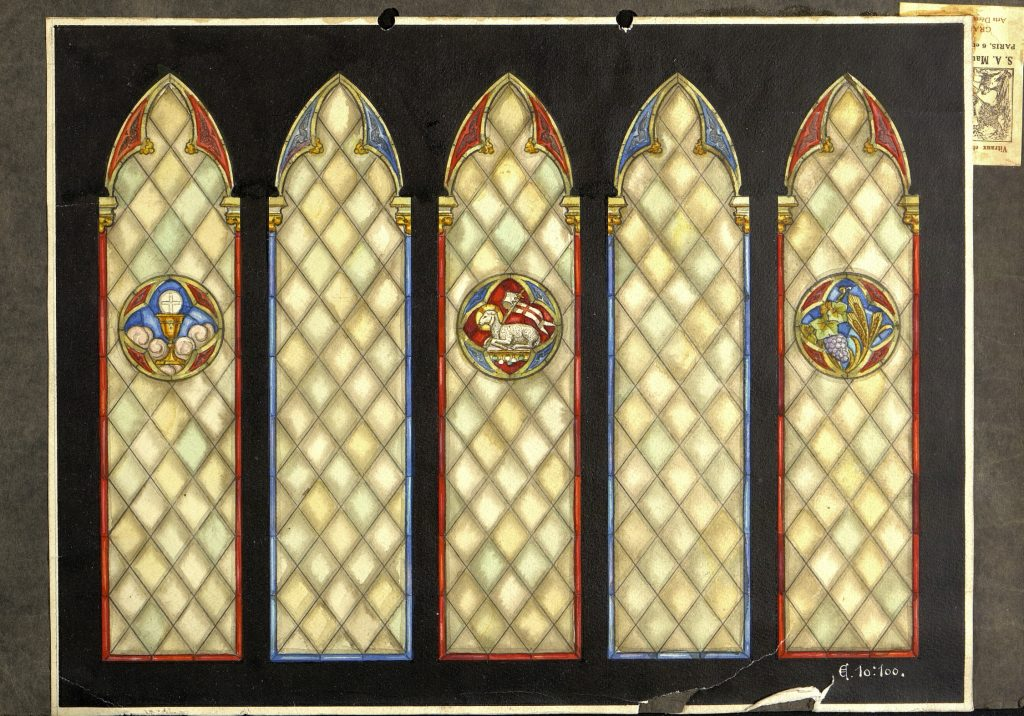 Tegninger av glassmalerier i Grimstad kirke fra Le Vitrail d´art, Paris