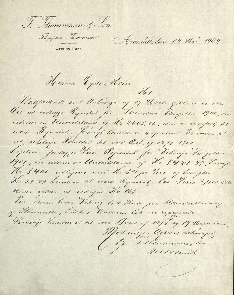 Brev fra T. Thommesen & Son 14. mai 1902