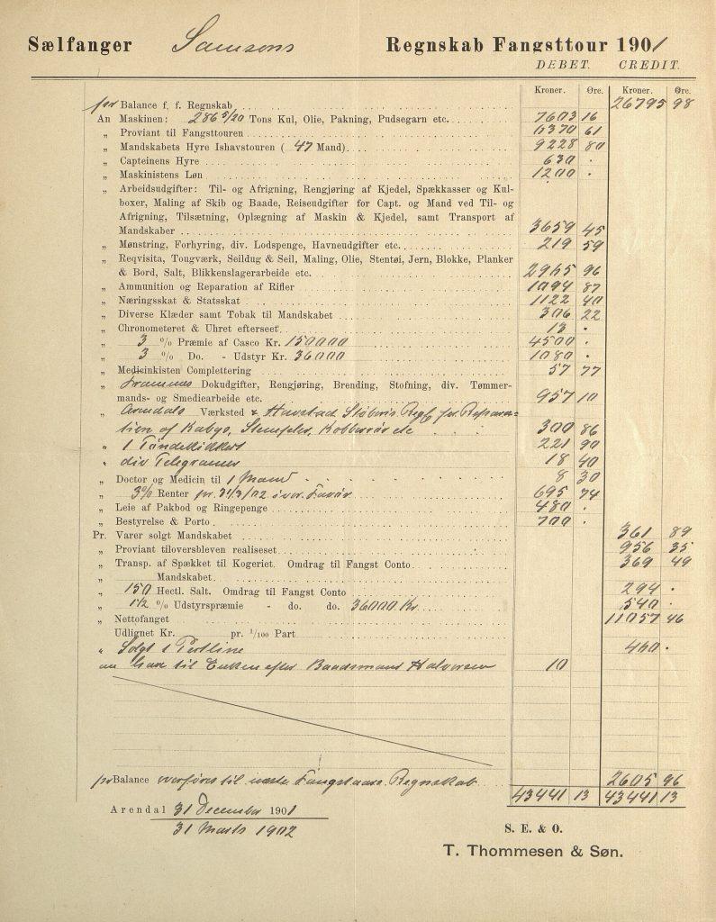 Fangstregnskap for Samson 1901 s. 1