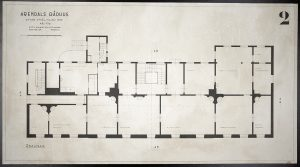 Oppmålingstegning av Arendal rådhus mai 1942 Ugland & Thorne 2. etg