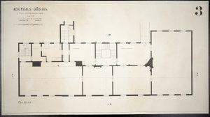 Oppmålingstegning av Arendal rådhus mai 1942 Ugland & Thorne 3. etg