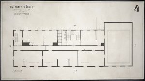 Oppmålingstegning av Arendal rådhus mai 1942 Ugland & Thorne 4. etg