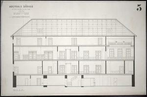 Oppmålingstegning av Arendal rådhus mai 1942 Ugland & Thorne snitt