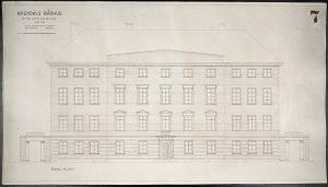 Oppmålingstegning av Arendal rådhus mai 1942 Ugland & Thorne fasade mot syd
