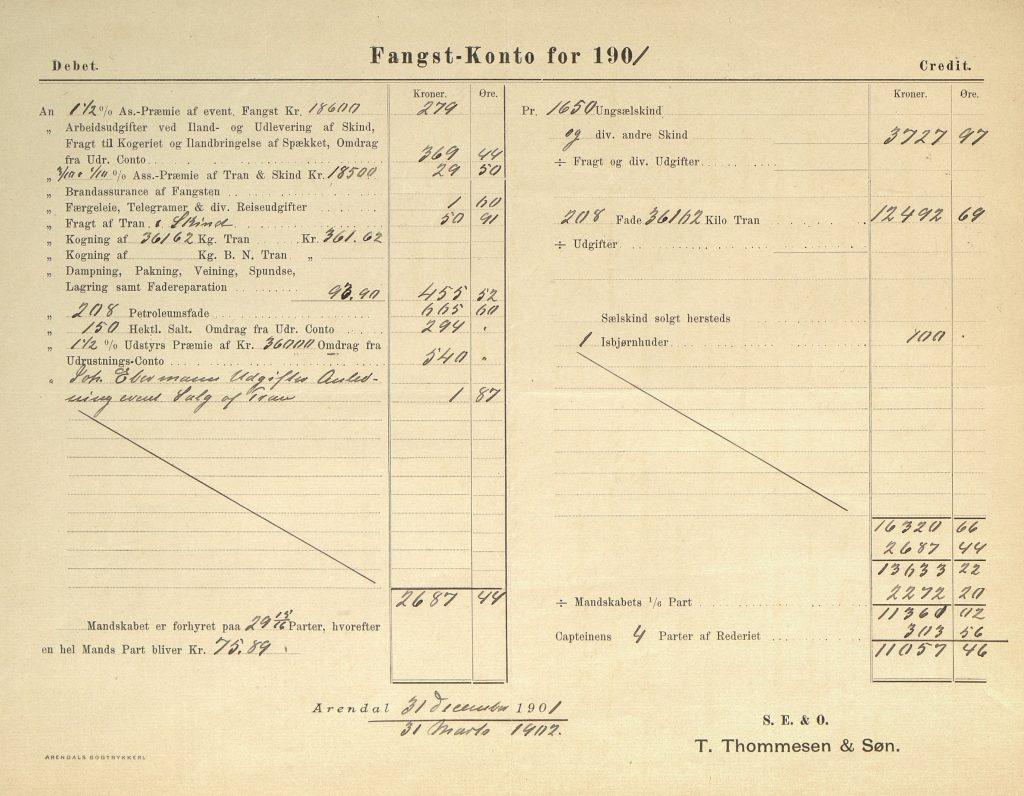 Fangstregnskap for Samson 1901 s. 2