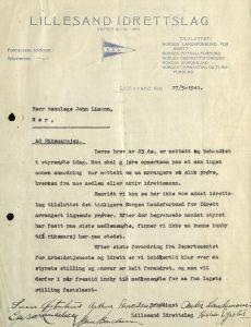 Brev fra Lillesand Idrettslag til John Limann 27.05.1941