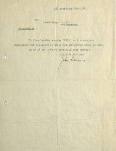 Brev fra John Limann til Lillesand Idrettslag 23.05.1941