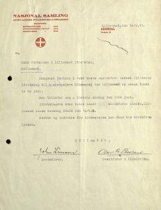 Brev fra Nasjonal Samling til Lillesand Idrettslag 10.06.1941