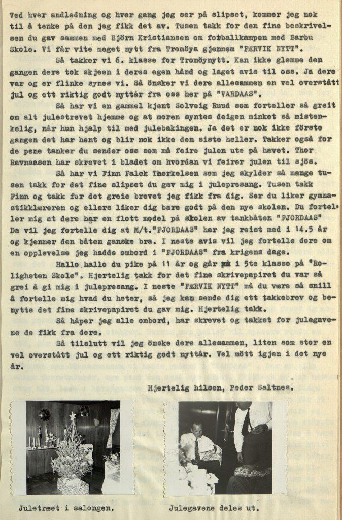 Julehilsen fra kaptein Saltnes Vardaas Posten nr. 4 desember 1952