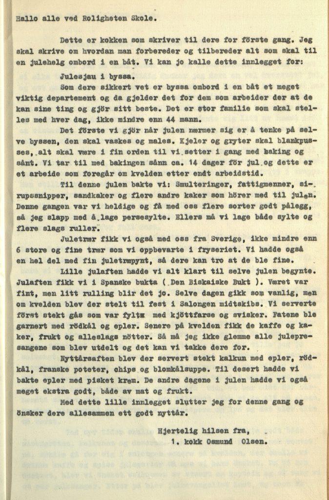 Julehilsen fra 1. kokk Osmund Olsen Vardaas Posten nr. 4 desember 1952