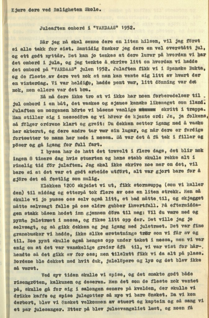 "Julaften ombord i ""Vardaas"" 1952 av matros Thor Ravnaasen Vardaas Posten nr. 4 desember 1952"