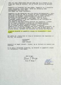 Høringsuttalelse om valg av fylkesstein for Aust-Agder fra Birkenes kommune 08.12.1993