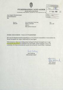 Høringsuttalelse om valg av fylkesstein for Aust-Agder fra Fylkesmannen i Aust-Agder 29.11.1993