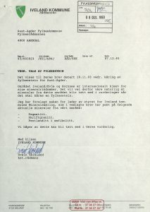 Høringsuttalelse om valg av fylkesstein for Aust-Agder fra Iveland kommune 07.12.1993
