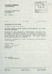 Høringsuttalelse om valg av fylkesstein for Aust-Agder fra Lillesand kommune 15.12.1993