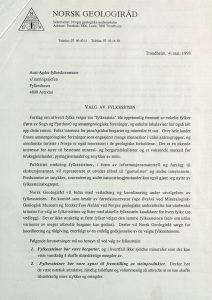 Brev til Aust-Agder fylkeskommune fra Norsk Geologiråd 04.05.1993 s. 1