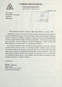 Brev til Aust-Agder fylkeskommune fra Norsk Geologiråd 23.09.1993