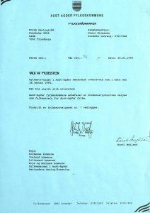 Brev til Norsk Geologiråd 20.01.1994 - Valg av fylkesstein