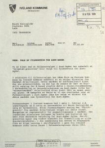 Brev til Norsk Geologiråd fra Iveland kommune 07.02.1994 s. 1
