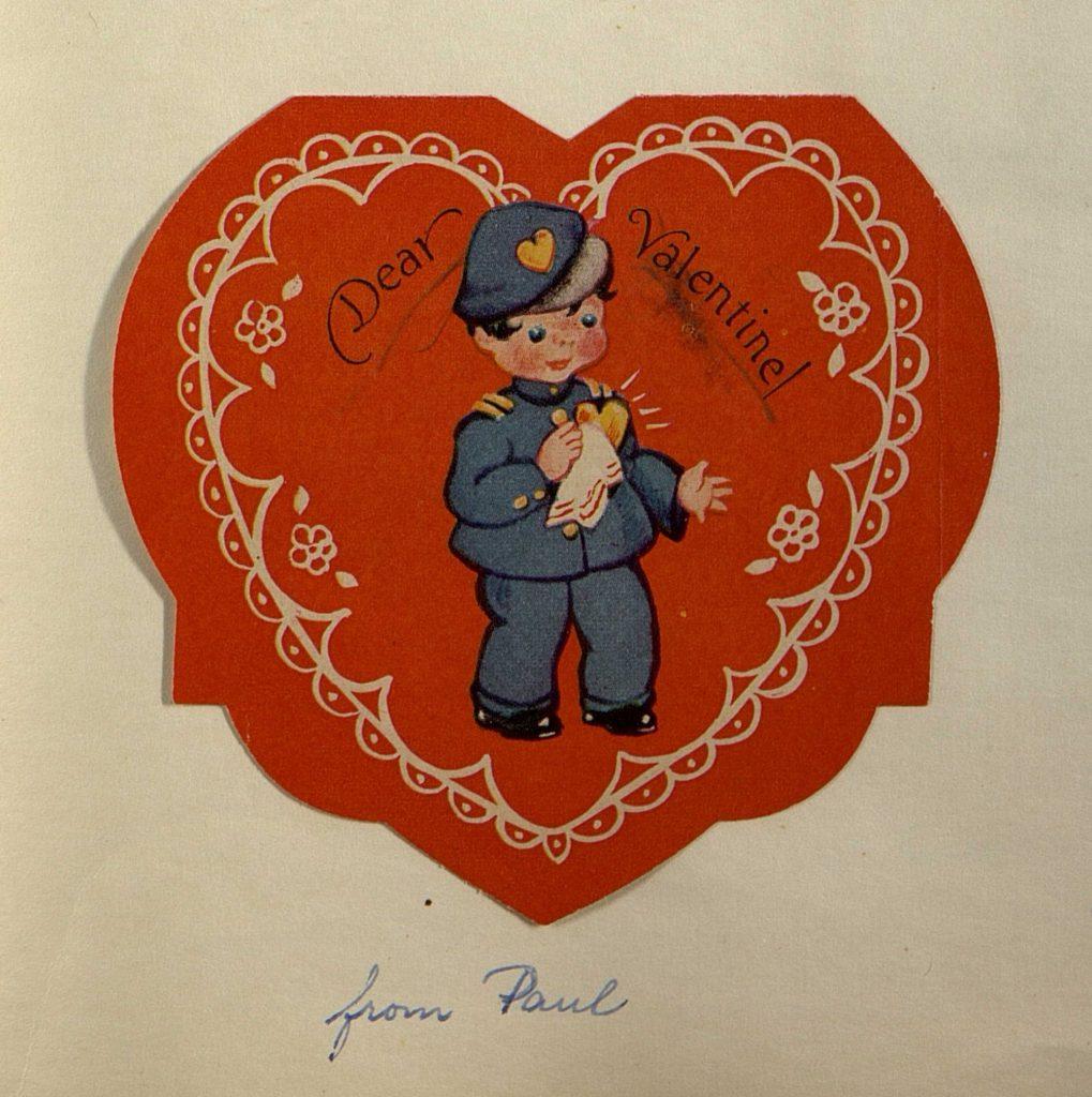 Valentinskort fra 1950-tallet. Sonja Gjerulfsen Krügers album