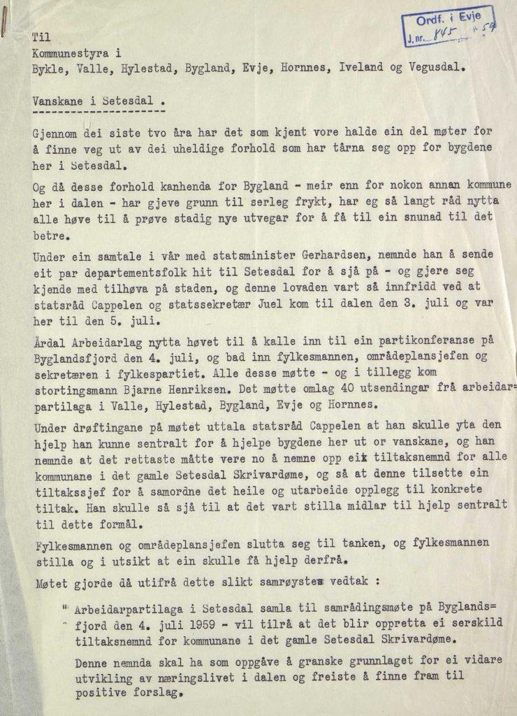Brev til kommunene i Setesdal fra ordfører Osmund Faremo 06.07.1959 s. 1