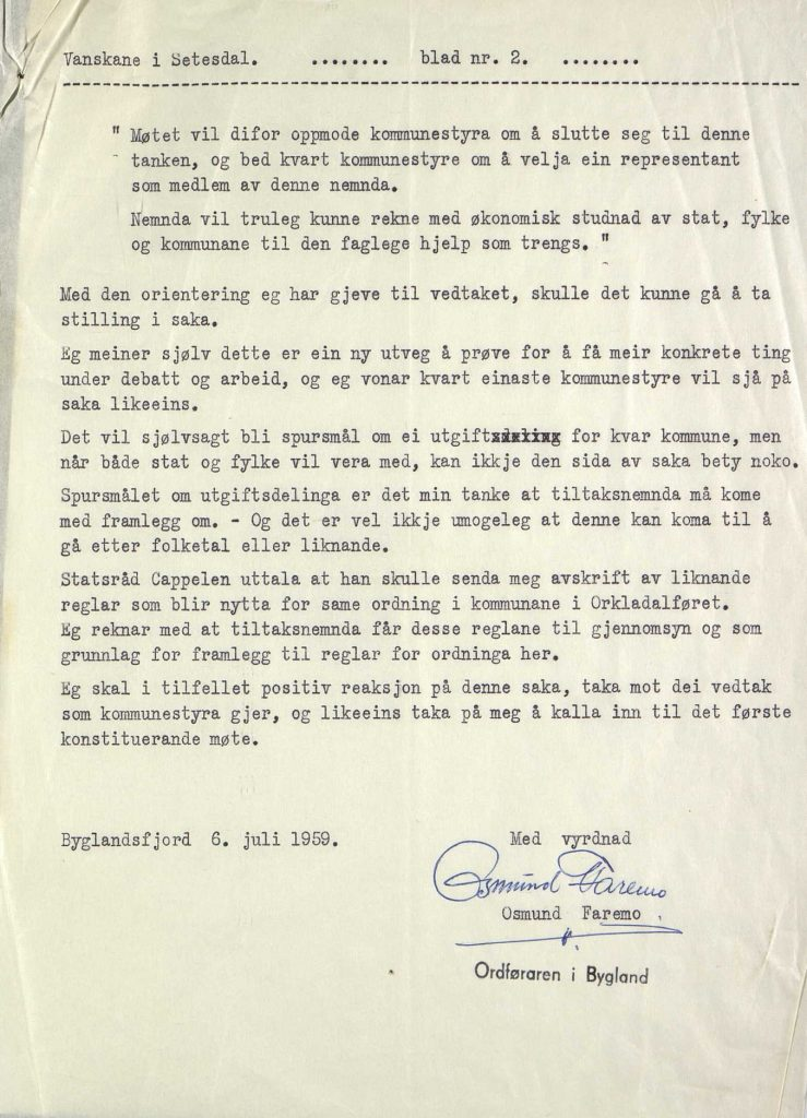 Brev til kommunene i Setesdal fra ordfører Osmund Faremo 06.07.1959 s. 2