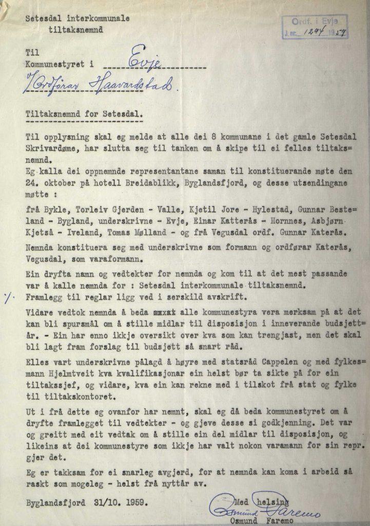 Brev til kommunestyret i Evje fra ordfører Osmund Faremo 31.10.1959