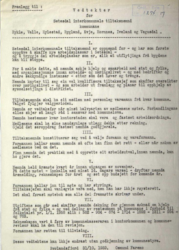 Vedtekter for Setesdal interkommunale tiltaksnemnd 31.10.1959
