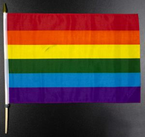 Regnbueflagg fra Lillesand Pride 23. august 2019