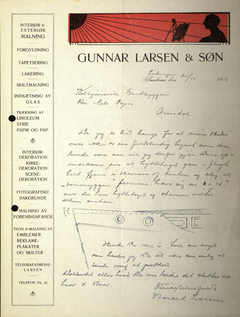 Brev fra Harald Larsen til Nils Øyen 20.10.1913