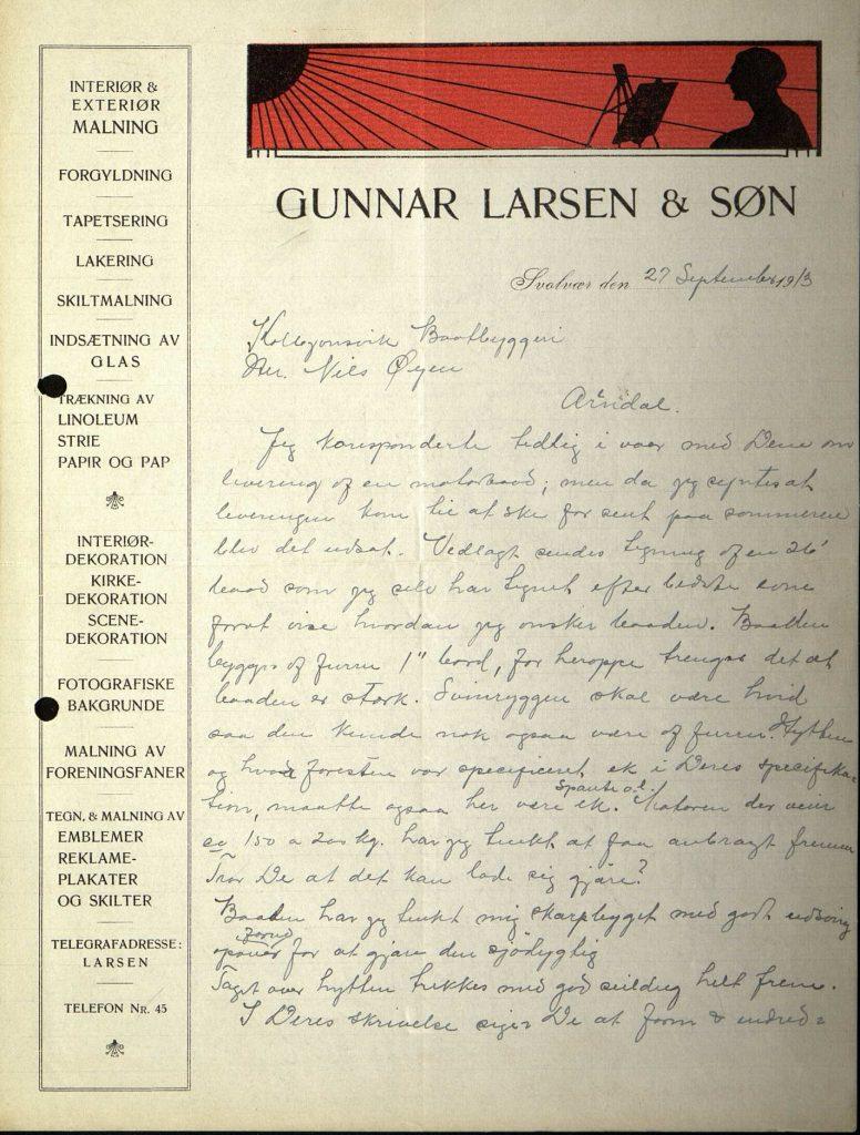 Brev fra Harald Larsen til Nils Øyen 27.09.1913 s. 1