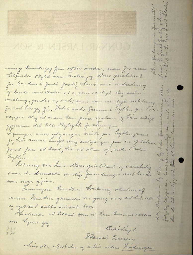 Brev fra Harald Larsen til Nils Øyen 27.09.1913 s. 2